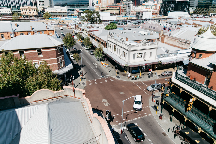 Northbridge from the Alex Hotel rooftop in Perth, Western Australia.