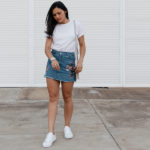 The Embroidered Denim Skirt Outfit